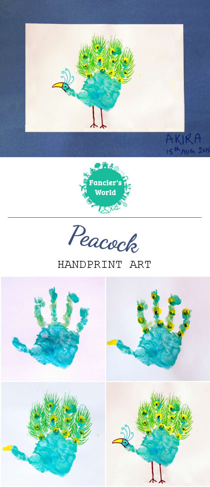 peacock crafts and activities handprint peacock 15th august fancier s world 5145