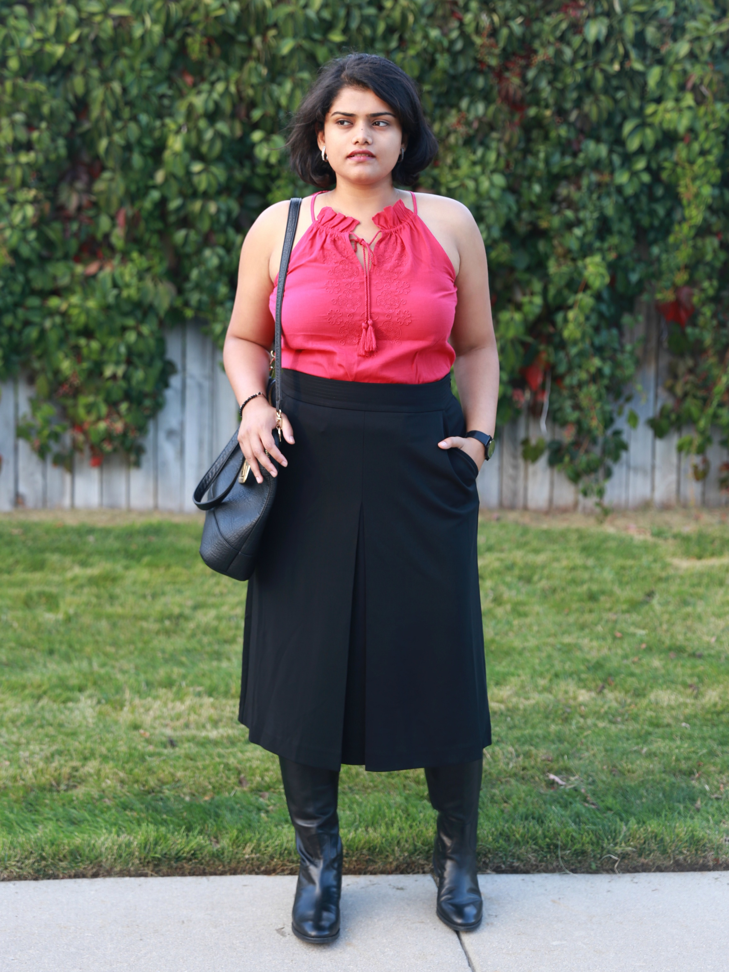 Pleated Midi Skirt + Tall Boots